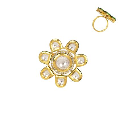 40350 Kundan Classic Ring with gold plating