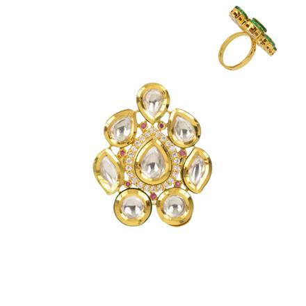 40352 Kundan Classic Ring with gold plating
