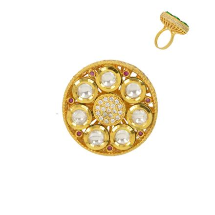40353 Kundan Classic Ring with gold plating