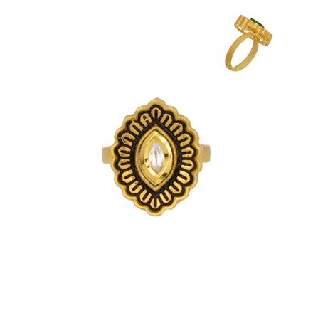 40354 Kundan Classic Ring with gold plating