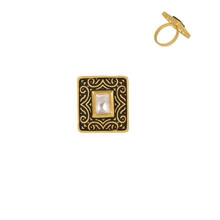 40355 Kundan Classic Ring with gold plating