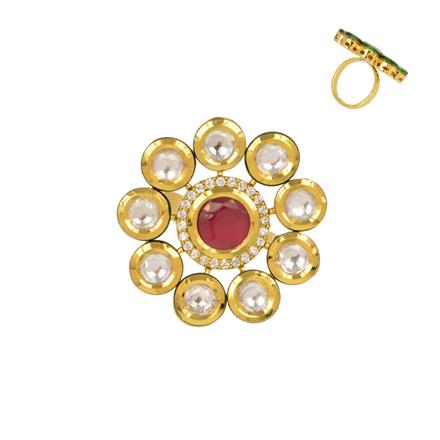 40356 Kundan Classic Ring with gold plating