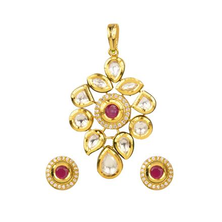40361 Kundan Delicate Pendant Set with gold plating