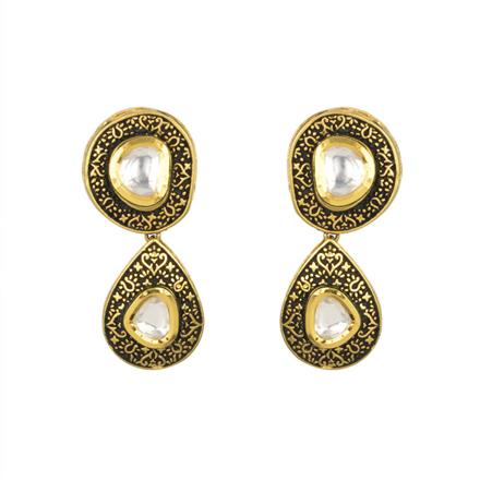 40374 Kundan Classic Earring with gold plating