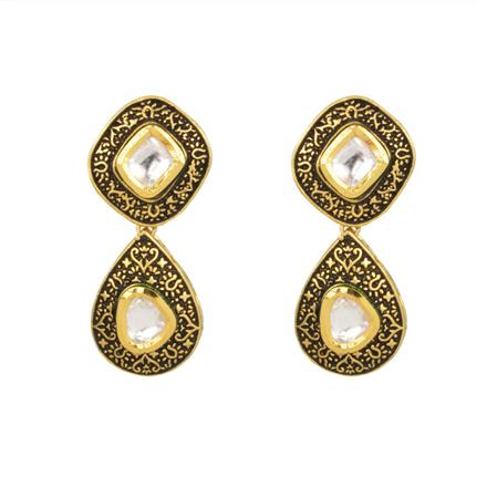 40376 Kundan Classic Earring with gold plating
