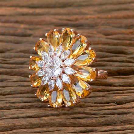 403846 Cz Classic Ring with Rose Gold plating