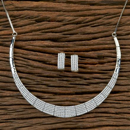 404024 Cz Classic Necklace with Rhodium plating