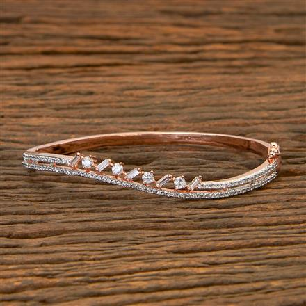404077 Cz Delicate Kada with Rose Gold plating