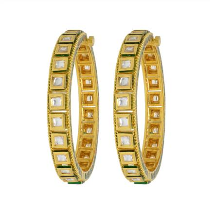 40411 Kundan Openable Bangles with gold plating