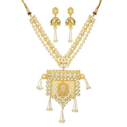 40421 Kundan Mala Pendant Set with gold plating