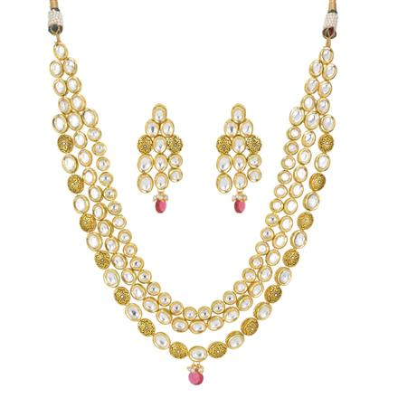 40422 Kundan Long Necklace with gold plating