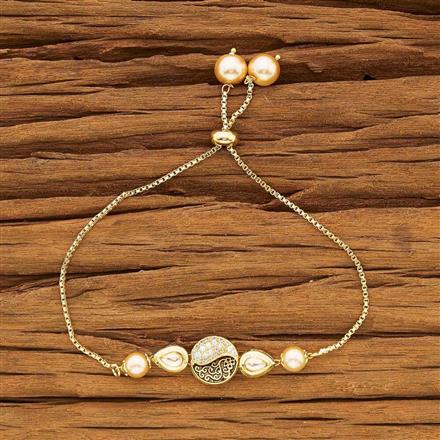 40428 Kundan Adjustable Bracelet with gold plating