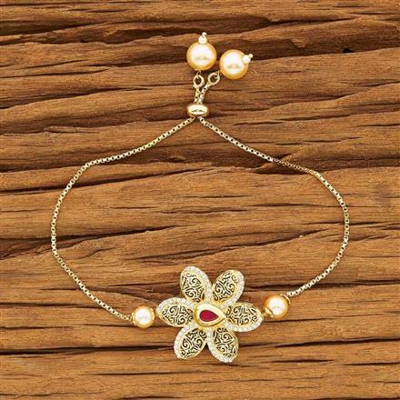 40429 Kundan Adjustable Bracelet with gold plating