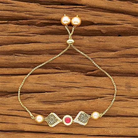 40431 Kundan Adjustable Bracelet with gold plating
