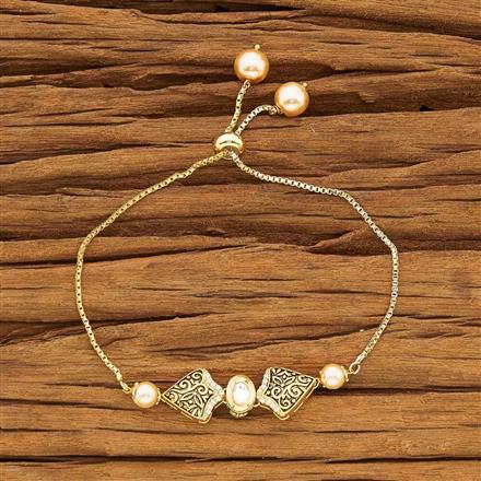 40432 Kundan Adjustable Bracelet with gold plating