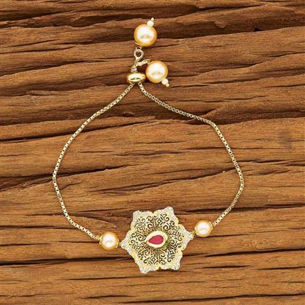 40433 Kundan Adjustable Bracelet with gold plating