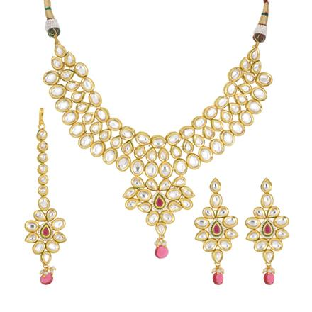 40437 Kundan Classic Necklace with gold plating