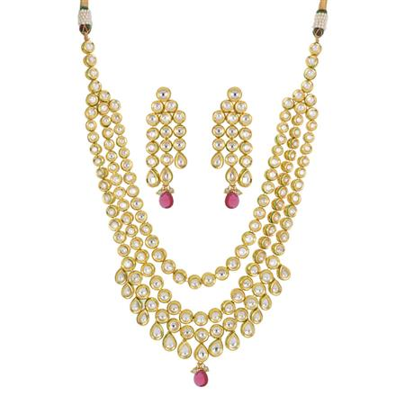 40438 Kundan Long Necklace with gold plating