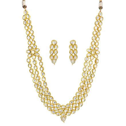 40441 Kundan Long Necklace with gold plating