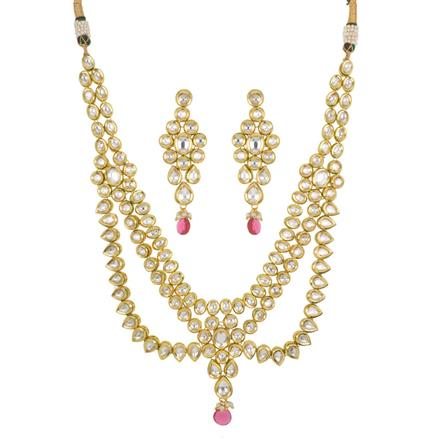 40442 Kundan Long Necklace with gold plating