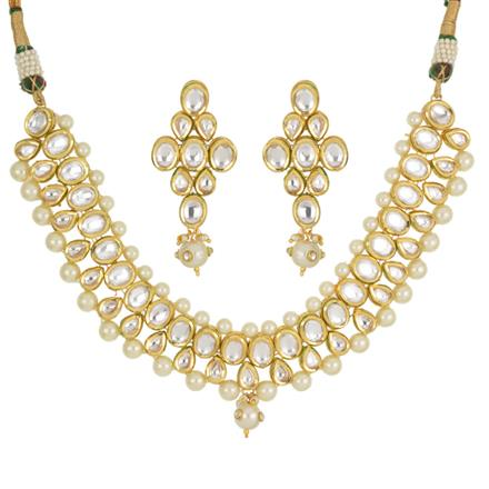 40445 Kundan Classic Necklace with gold plating