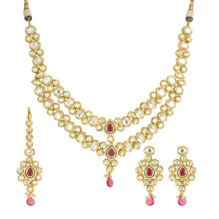 40448 Kundan Classic Necklace with gold plating
