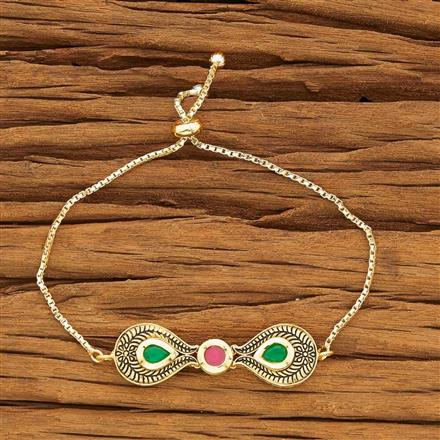 40449 Kundan Adjustable Bracelet with gold plating