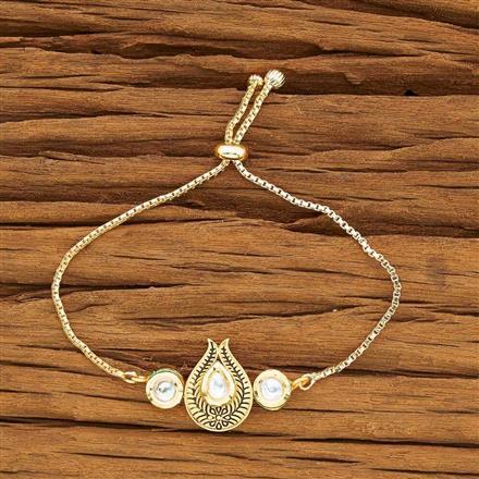 40450 Kundan Adjustable Bracelet with gold plating