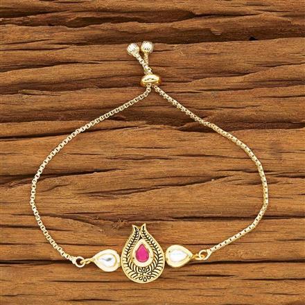 40451 Kundan Adjustable Bracelet with gold plating