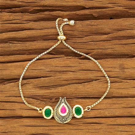 40452 Kundan Adjustable Bracelet with gold plating