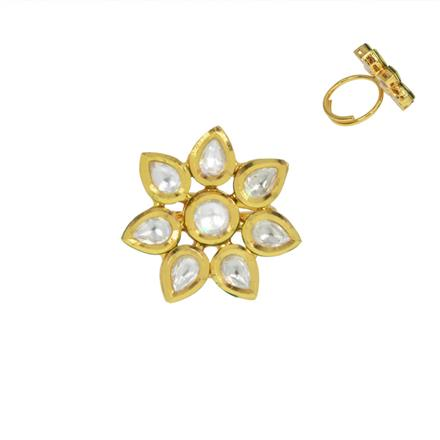40460 Kundan Classic Ring with gold plating
