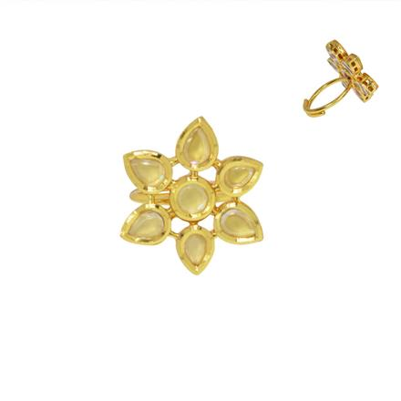 40462 Kundan Classic Ring with gold plating