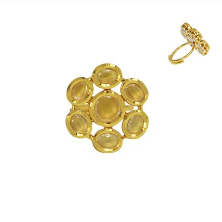 40466 Kundan Classic Ring with gold plating