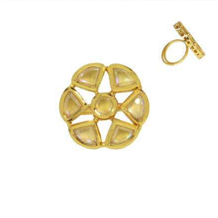 40467 Kundan Classic Ring with gold plating