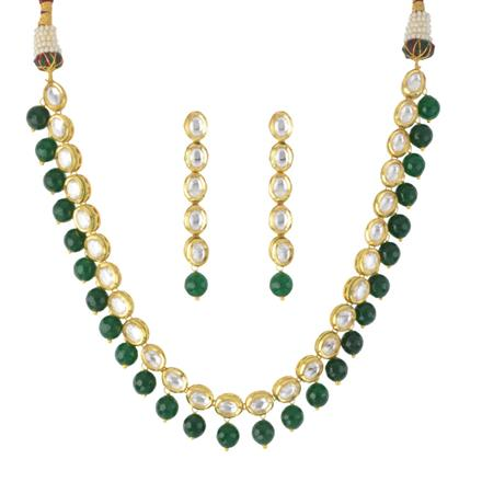 40481 Kundan Delicate Necklace with gold plating