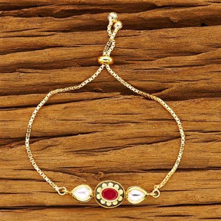 40490 Kundan Adjustable Bracelet with gold plating