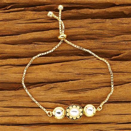 40491 Kundan Adjustable Bracelet with gold plating