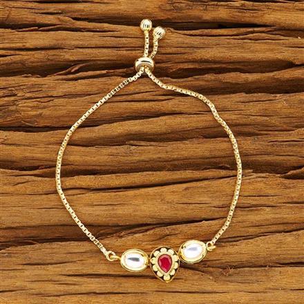 40492 Kundan Adjustable Bracelet with gold plating