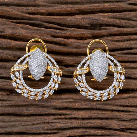 404963 Cz Short Earring With 2 Tone Plating
