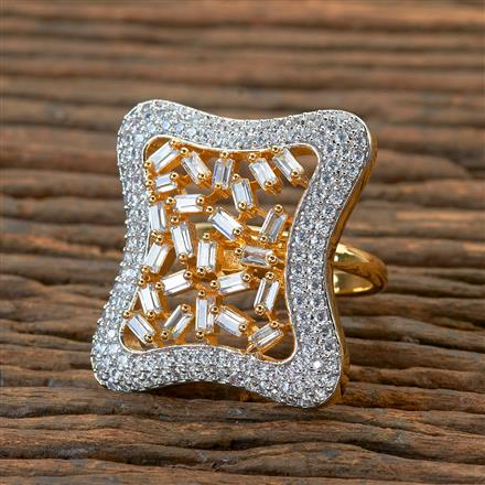 404976 Cz Classic Ring With 2 Tone Plating
