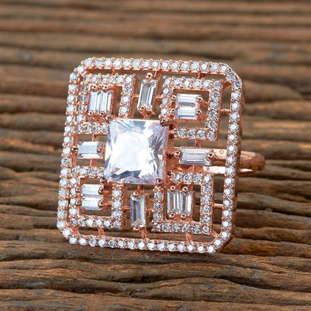 404978 Cz Classic Ring With Rose Gold Plating
