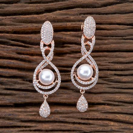 405035 Cz Short Earring With Rose Gold Plating