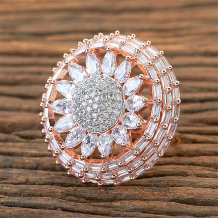405050 Cz Classic Ring With Rose Gold Plating