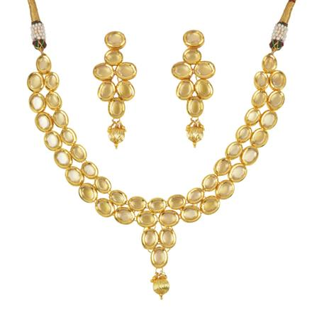 40508 Kundan Classic Necklace with gold plating