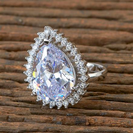 405159 Cz Classic Ring With Rhodium Plating