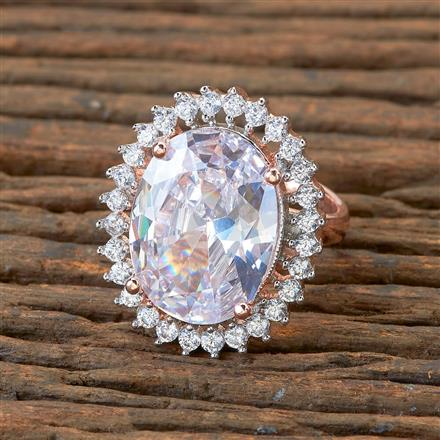 405166 Cz Classic Ring With Rose Gold Plating