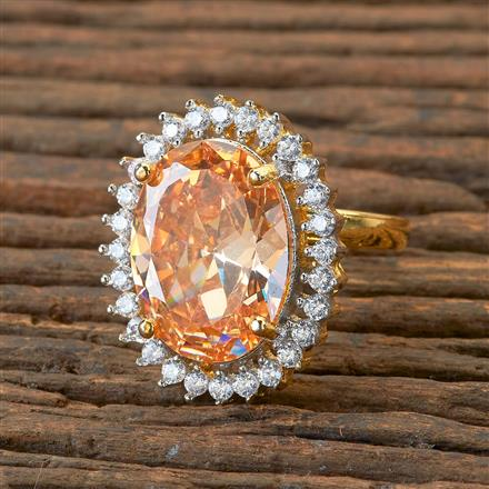 405168 Cz Classic Ring With 2 Tone Plating