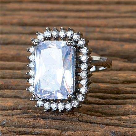405176 Cz Classic Ring With Black Plating