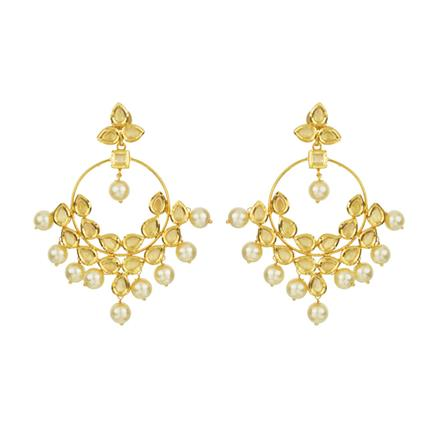 40517 Kundan Classic Earring with gold plating