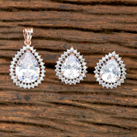 405244 Cz Classic Pendant Set With Rose Gold Plating